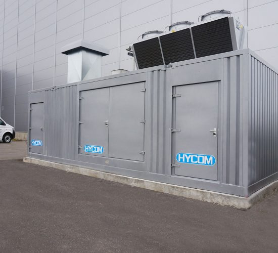HYCOM Hydraulic power pack for assembly line in container